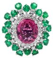 XleaDesign Ladies 14K White Gold Ring 5.66 Carat Diamond and Pink Tourmaline