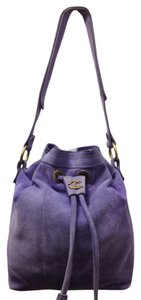 Just Cavalli Suede Blue Purple Lavender Shoulder Bag