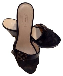 Coach Geri Slide Sandals Black Wedges