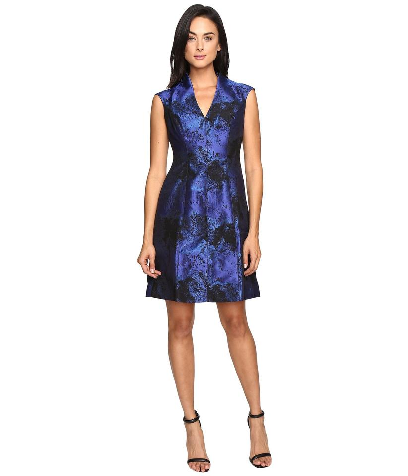 Maggy London Blue Women\'s Shadow Abstract Deep V-neck Fit and Flare ...