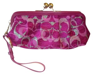 Coach Wristlet in Burgundy, Silver and Fuchsia