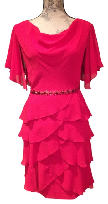 Signature by Robbie Bee Red Cocktail Ruffles Dress