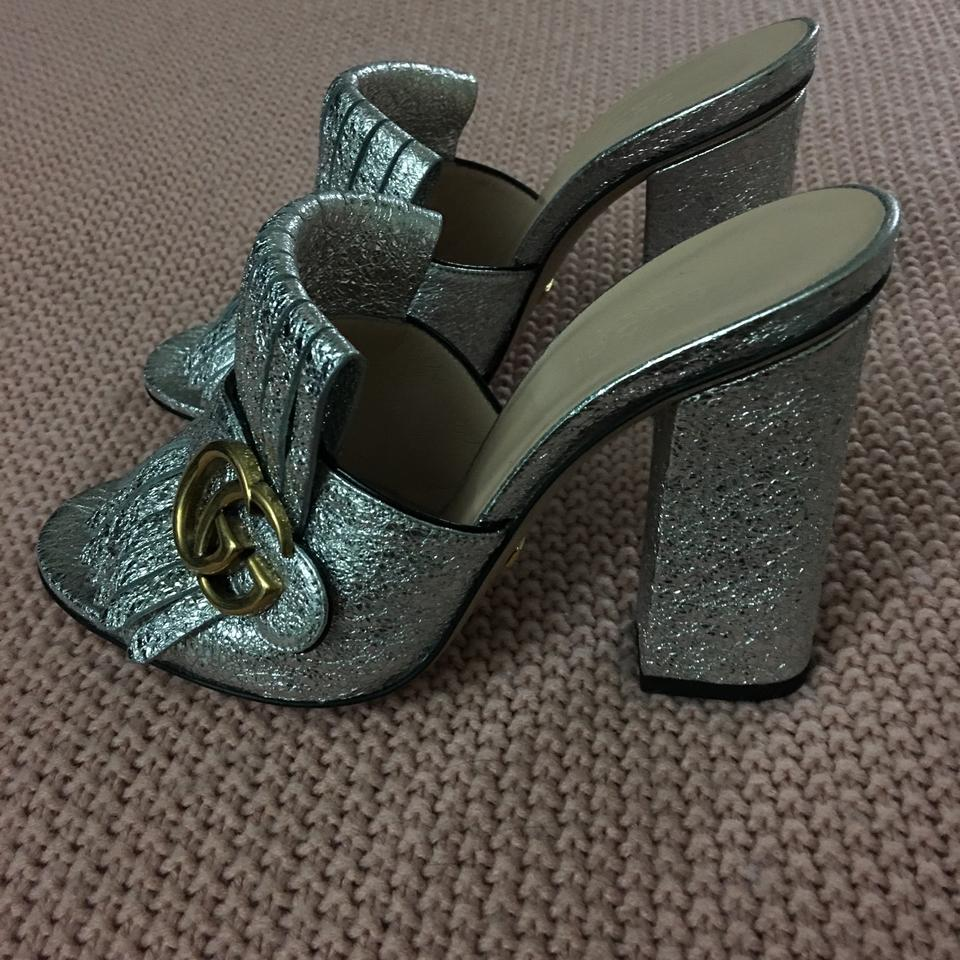 fadcc14571a Gucci Silver Marmont 105mm Kiltie Crackled Leather Mules Slides Size ...