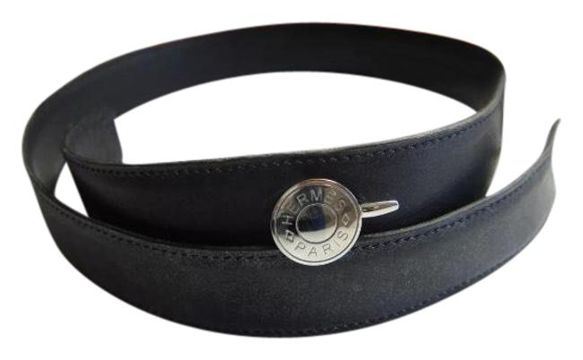 Item - Black / Silver Selliere Calf Leather Belt