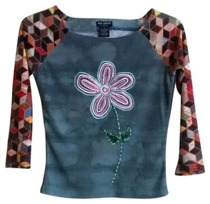 Rose Garden Vintage Top Small Multi Flower with Beads