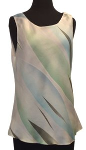 Giorgio Armani Top white / green / blue silk