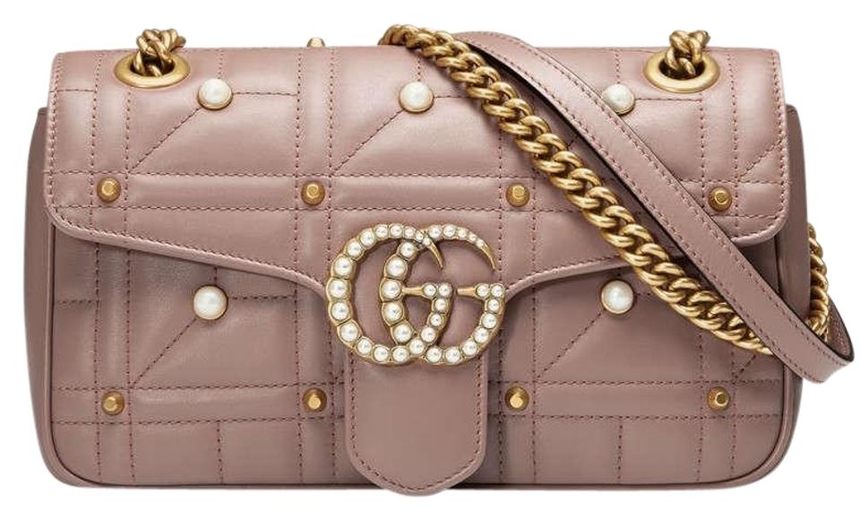 6a28b1a6689b Gucci Marmont New Small Pearly Studs Nude Pink Leather Shoulder Bag ...