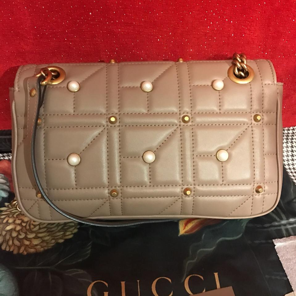 4e2664e28 Gucci Marmont New Small Pearly Studs Nude Pink Leather Shoulder Bag ...