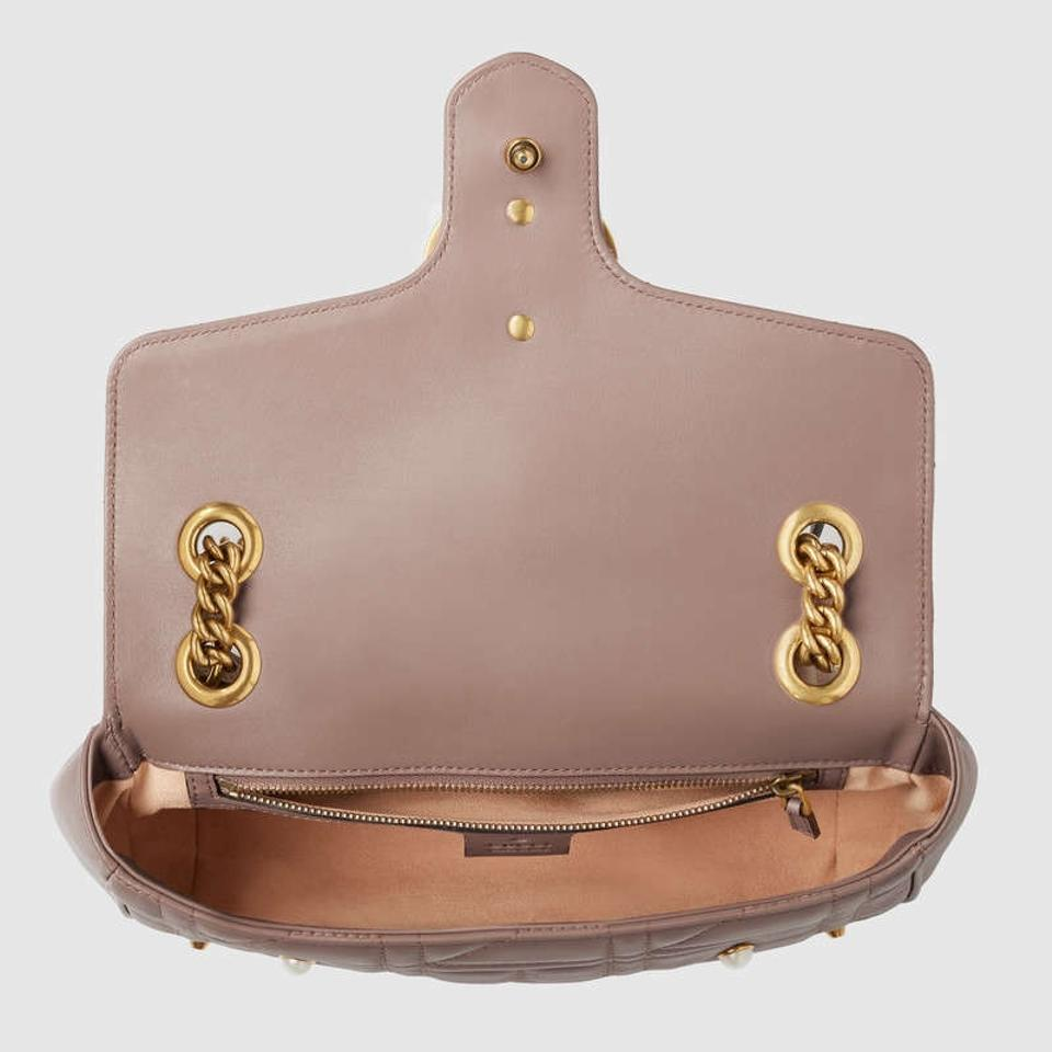 85d26e9f6 Gucci Marmont New Small Pearly Studs Nude Pink Leather Shoulder Bag -  Tradesy