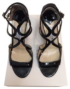 Jimmy Choo Leather Black Patent Sandals