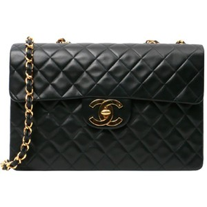 06a731c64c17 Chanel Classic Flap Quilted Jumbo Maxi Black Lambskin Leather Shoulder Bag