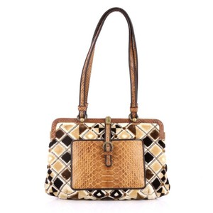 Bottega Veneta Python Velvet Shoulder Bag