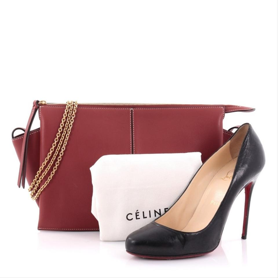 6f27610dd Céline Tri-Fold Clutch on Chain Tri-Fold Smooth Red Leather Clutch - Tradesy