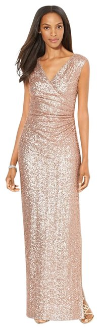 Item - Gold Sequin Ruched Column Gown Long Formal Dress Size 4 (S)