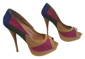 Diva Lounge Many Colors Cylinder Stilettos Peep Toe Multi colors Platforms