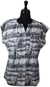 Van Heusen City Landscape & Sleeveless Bridges Button Down Shirt Black, White