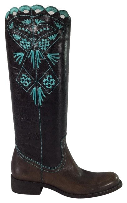 Item - Brown Embroidered Leather Boots/Booties Size EU 36.5 (Approx. US 6.5) Regular (M, B)