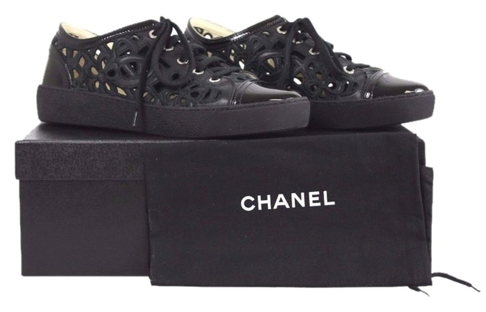 01ea6c4d27e Chanel Black Embroidered Floral Cutout Patent Leather Cap Toe Sneakers