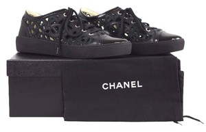 Chanel Embroidered Floral Cutout Black Athletic