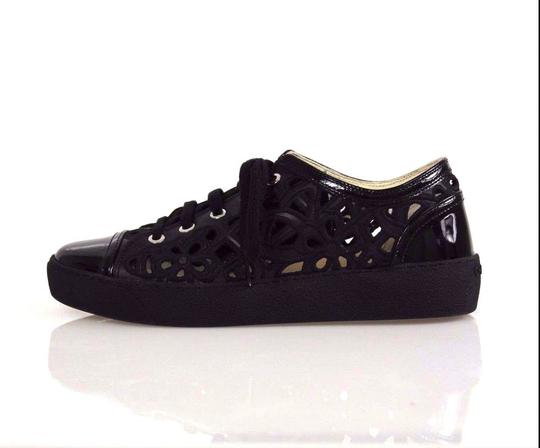 Chanel Embroidered Floral Cutout Patent Leather Sneakers Black Athletic