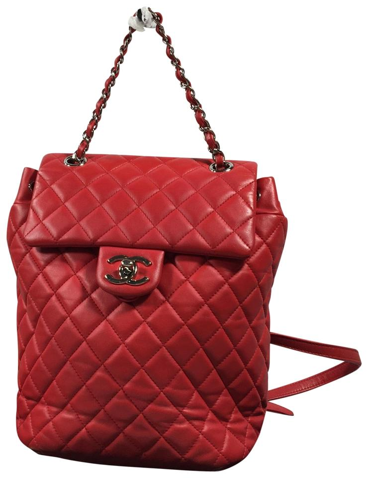 201d50b0fe6d Chanel Urban Spirit Red Lambskin Leather Backpack - Tradesy