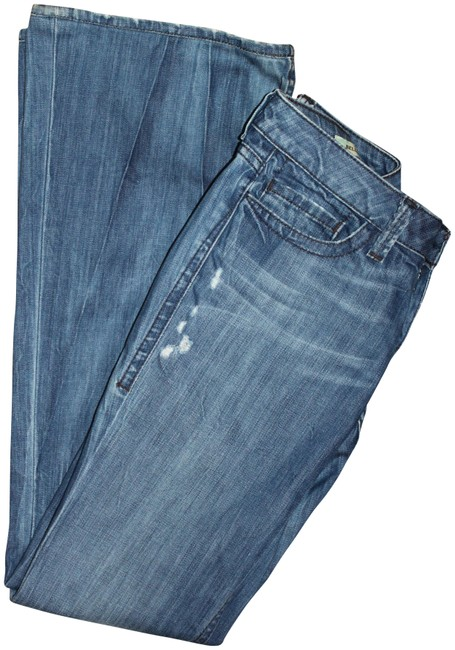 Item - Blue Distressed Belle Rise Flare Leg Jeans Size 27 (4, S)