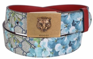 Gucci New Gucci Women's $480 434559 Blue GG Blooms Feline Plaque Belt 34 85