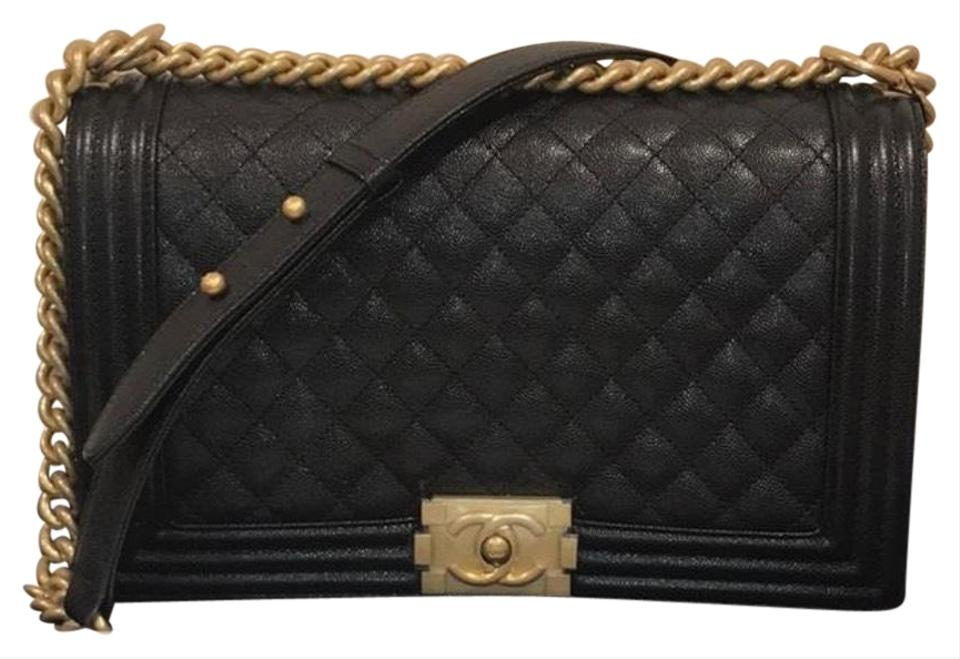 4ff9a9ca965 Chanel Boy Le New Medium W  Gold Hardware Black Caviar Leather ...