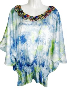 LIV Top MULTI WATERCOLOR BLUES WHITE GREENS