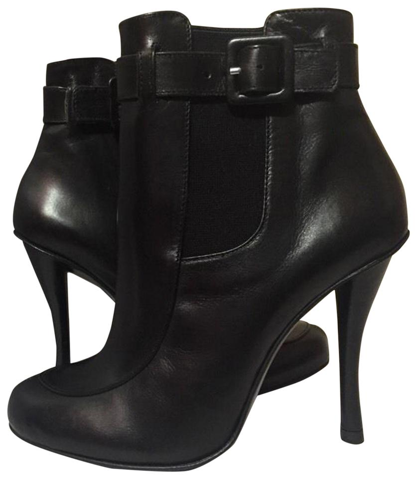 55d9a2fd127a Robert Clergerie Ankle High Heels Pull On Black Leather Boots Image 0 ...
