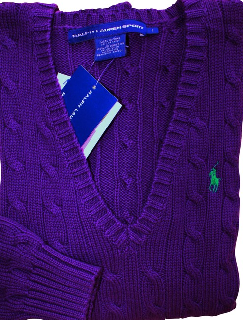 Item - V-neck Cable Knit Cotton New Purple Sweater