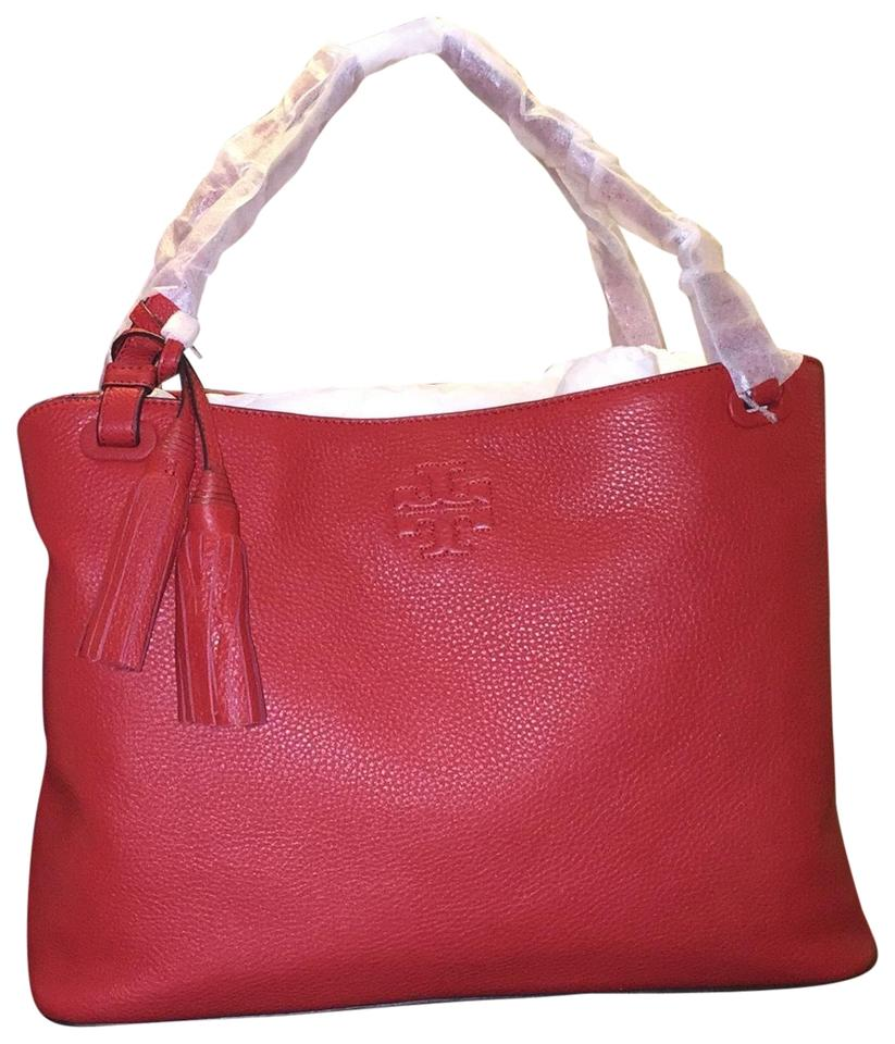 5cf586cbdc7c Tory Burch Thea Center-zip Rust Red Leather Tote - Tradesy