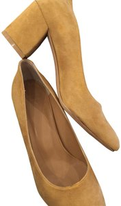Maryam Nassir Zadeh Suede Chunky Saddle Brown Pumps