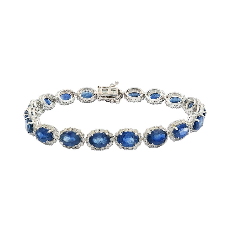 sapphire carat gold blue gallery tennis bracelet media icon