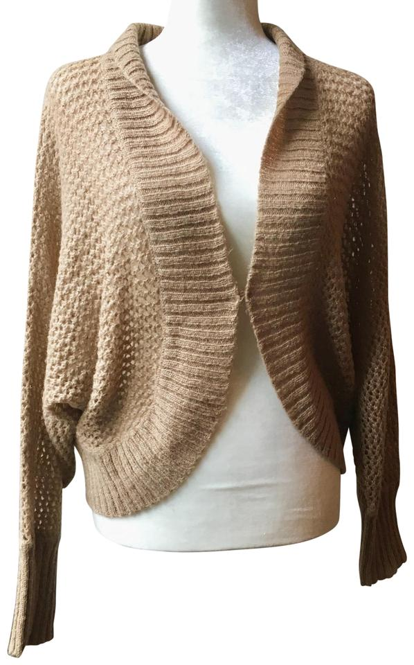 Ann Taylor Loft Mohair Open Waffle Knit Medium Chestnut Tan Cream