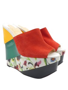 Christian Louboutin Mules Floral Suede Patent Leather Yellow multi-color Wedges