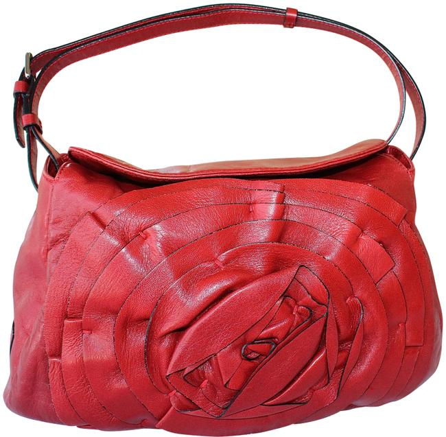 Valentino Garavani Nappa Petale Red Leather Shoulder Bag Valentino Garavani Nappa Petale Red Leather Shoulder Bag Image 1