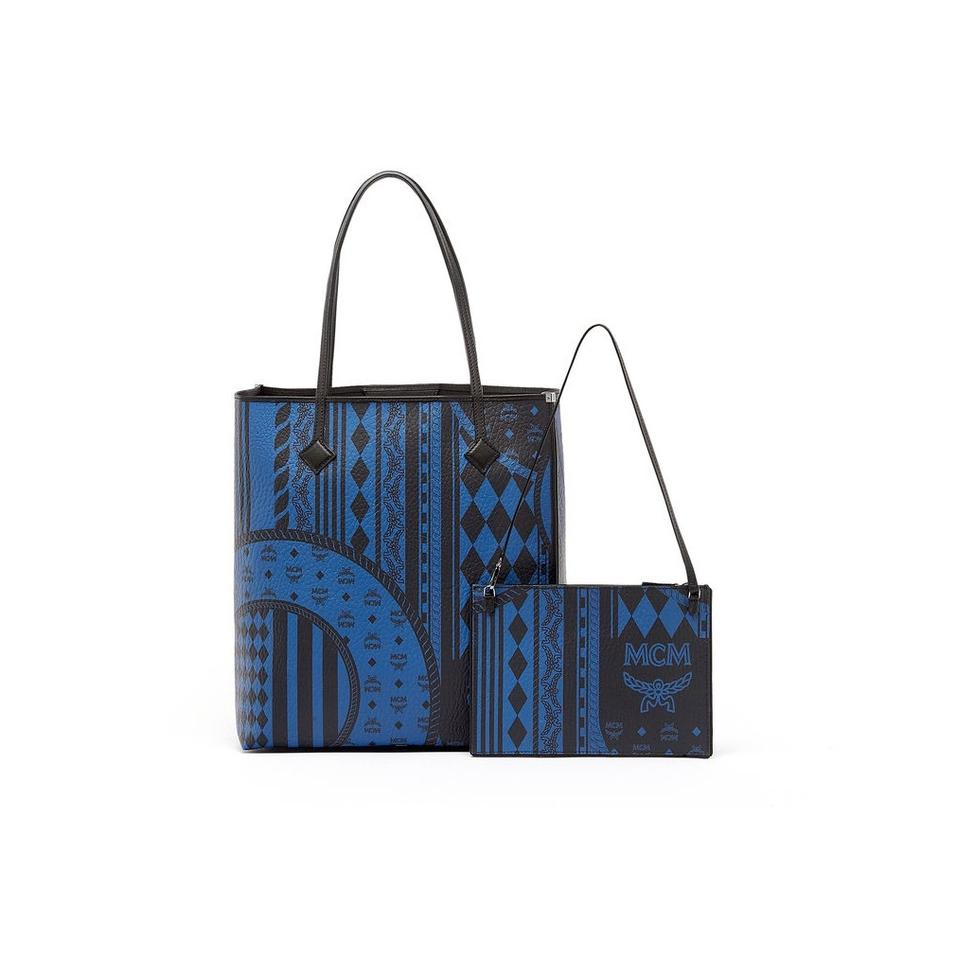 5efff5e95d MCM New Kira Baroque Print Ns Shopper Munich Blue Leather Tote - Tradesy