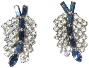 Albert Weiss Weiss White & Sapphire Blue Crystal Lily Clip Earrings Signed 1950s