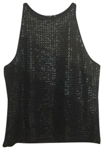 Cache Beaded Ombre Ombre Beaded Top Black, Pewter, Silver