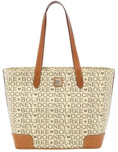 Dooney & Bourke Tote in Tan Brown Black Red Gold