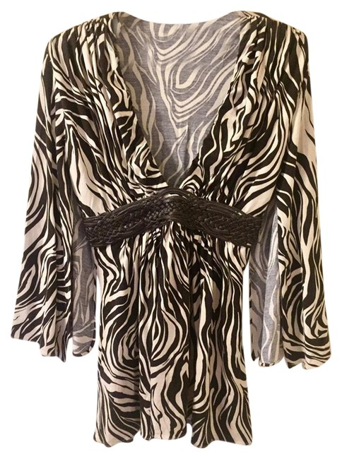 Item - Kimono Open Sleeve Black/Brown and Ivory Top