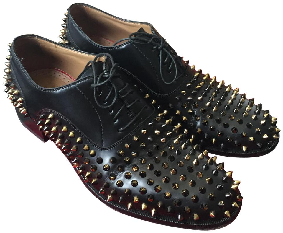 705bfbddafde Christian Louboutin Bruno Balmoral Men s Black   Gold Spikes Formal Image 0  ...