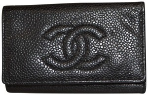 Chanel Authentic Chanel Black Caviar Leather Classic CC Key Holder