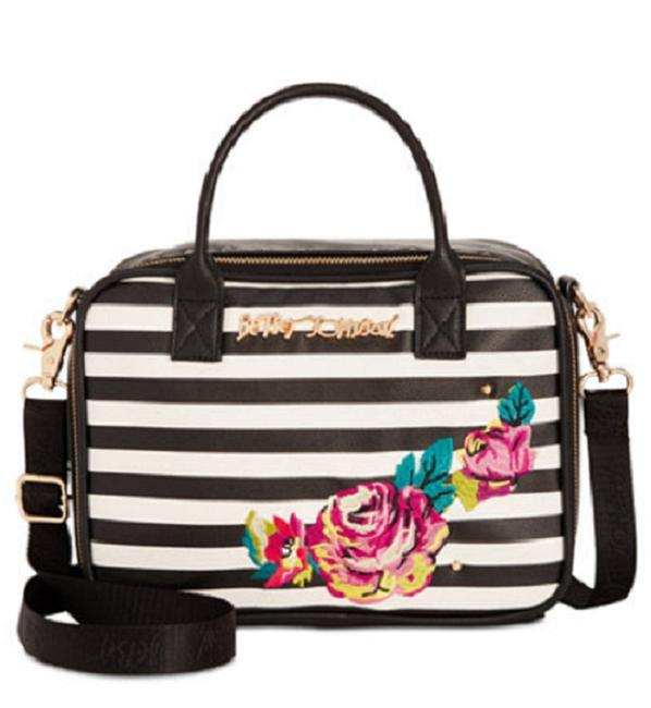 Item - Embroidered Insulated Lunch Tote Black/White Multi Weekend/Travel Bag
