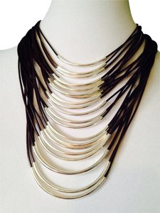 2 B Rych NWOT Multi-Strand Sturdy Cord & Silver Bar Necklace