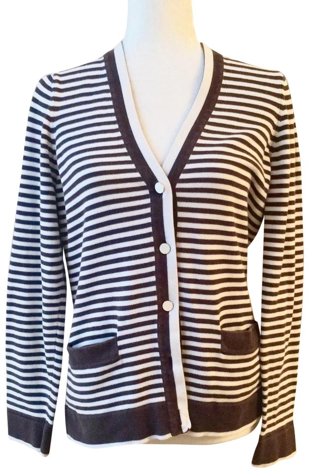 78e70af0 Lands' End Striped Thick Cardigan Medium Brown and White Sweater ...