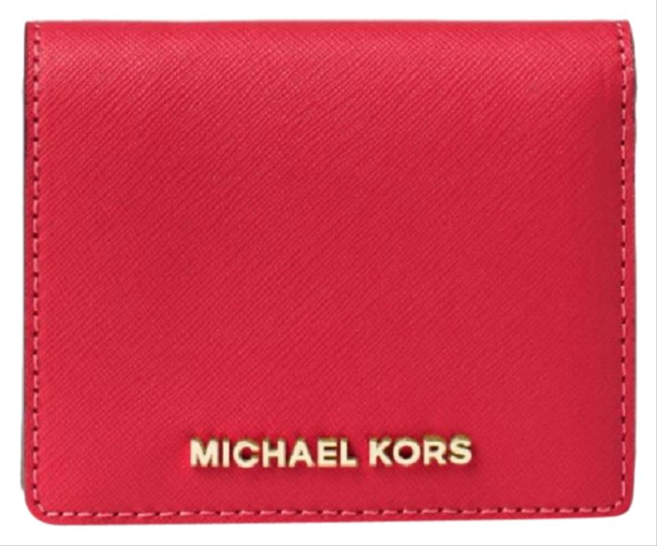 daa24ca827f7 Michael Kors MICHAEL KORS Jet Set Travel Saffiano Leather Card Case Wallet  Image 0 ...