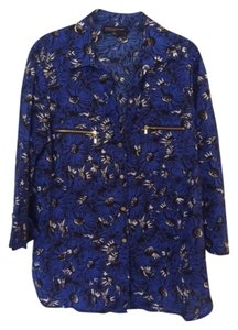 Jones New York Floral Zipper Size 14 Top Blue and Black