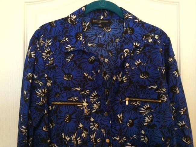 Jones New York Floral Zipper Size 14 Button Up Top Blue and Black